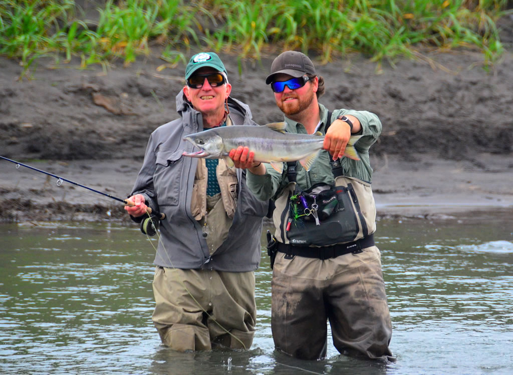 Alaska fly fishing lodge king silver and red salmon for Fly fishing techniques
